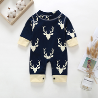 Fashionable Christmas ELK Print Splice Jumpsuit for Baby