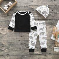 3-piece Comfy Bear Print Long-sleeve Top, Pants and Hat Set