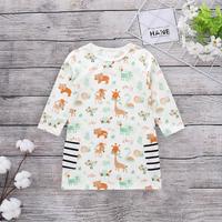 Cute Small Bear and Lion Allover Stripe Pocket Long-sleeve Dress