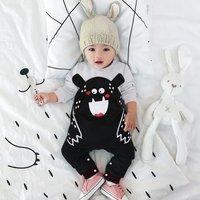 Funny Black Bear Design Long-sleeve Jumpsuit for Baby