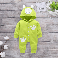 Trendy Bear Design Hooded Long-sleeve Jumpsuit for Baby