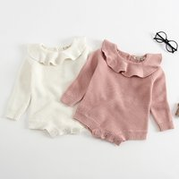 Lovely Knitted Solid Ruffled Collar Long-sleeve Bodysuit for Baby Girl