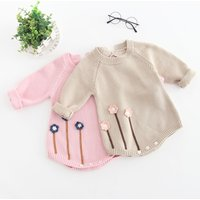 Chic Flower Applique Knitted Long-sleeve Romper for Baby