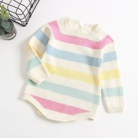Colorful Striped Knitted Long-sleeve Romper for Baby