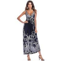 Trendy Printed Sleeveless Maxi Dress