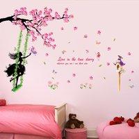 Trendy Waterproof Girl Flower Wall Sticker