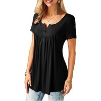 Stylish Solid Pleated Asymmetric Short-sleeve T-shirt for Women