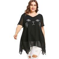 Lovely Cat Print Cold Shoulder Top in Black