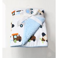 Warm Cartoon Vehicle Pattern Plush Blanket