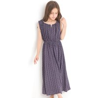 Girl's Charming Sleeveless Pleated Floral Maxi Dress