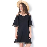 Beautiful Open Shoulder Ruffled Half-sleeve Dress for Girl