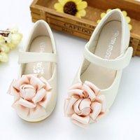 Elegant 3D Floral Decor Solid Leather Flats for Toddler Girl