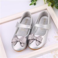 Trendy Solid Bow Decor PU Leather Velcro Flats for Toddler Girl and Girl