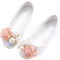 Toddler Girl's Pearl Flower Decor Princess Party Flats