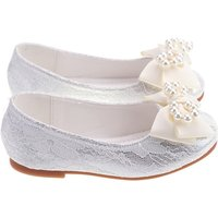 Pearl Bowknot Lace Party Flats for Toddler Girl