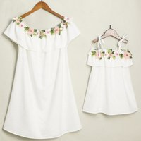 Mommy and Me Flounced Flower Applique Dress in White