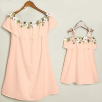Mommy and Me Flounced Flower Applique Dress in Pink