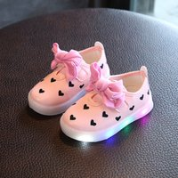 Pretty Heart Print LED Shoes for Toddler Girl and Girl