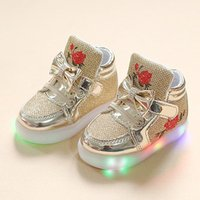 Pretty Folwer Embroidered LED Shoes for Toddler Girl and Girl
