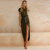 Trendy Round Collar Short Sleeves Slit Maxi Dress with Belt