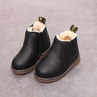 Fashionable Solid Fleeced Side-zipper Boots for Toddler and Kid