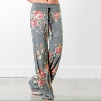 Trendy Floral High Waist Loose Pants
