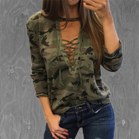 Deep V Neck Camouflage Top