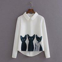 Lovely Cat Print Long-sleeve Shirt