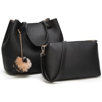 2 Pcs Stylish Pompom Decor Large Capacity Bags Set