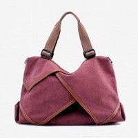 Stylish Splice Large Capacity Canvas Shoulder Bag