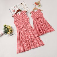 Classic Plaid Bow Decor Sleeveless Mommy and Me Dress in Red