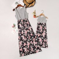 Mom and Me Trendy Stripes Floral Stitching Matching Maxi Dress
