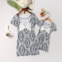 Mom and Me Backless Ethnic Graphic Matching Dress