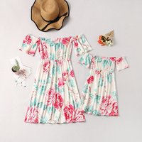 Pretty Floral Off Shoulder Short-sleeve Dress for Mom and Me