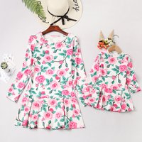 Pretty Floral Long-sleeve Dress for Mommy and Me