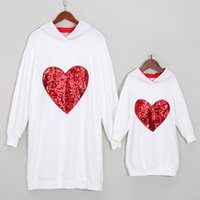 Beautiful Heart Sequined Long-sleeve Hoodie for Mommy and Me