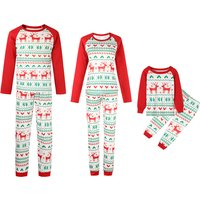 2-piece Family Deer Printed Matching Contrast Pajama Set