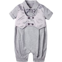 Faux-2 Short Sleeves Romper with Bowknot for Baby Boy