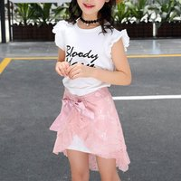 Lace Stitching Letter Print Faux-two Dress for Girl