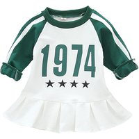 Sporty Striped Number Print Long Sleeves Dress for Toddler Girl