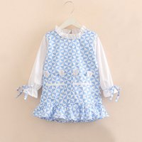 Pretty Plaid Ruffle Collar Long-sleeve Dress in Blue for Baby and Toddler Girl