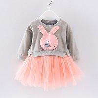 Lovely Rabbit Applique Long-sleeve Tulle Dress for Baby and Toddler Girl