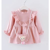 Lovely Solid Ruffled Long-sleeve Dress with Bear Bag for Baby and Toddler Girl