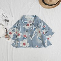 Fashionable Floral Long-sleeve Coat in Blue for Baby Girl