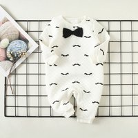 Handsome Bow Tie Decor Moustache Printed Jumpsuit for Baby Boy