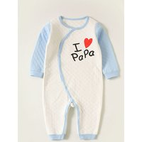 """Casual """"I Heart Papa/Mama"""" Long-sleeve Jumpsuit for Baby Boy"""