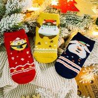 3-pair Fashionable Animal Print Color Blocked Terry Socks