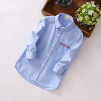 Toddler / Boy Solid Striped Chest Pocket Long-sleeve Shirt