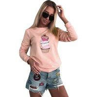 Trendy Cupcake Print Long-sleeve Pullover for Women