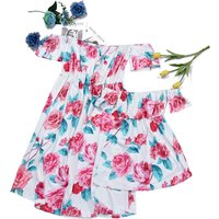 Sweet Ruffle Rose Pattern Off Shoulder Dress Mom and Me Matching